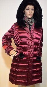 Saved-down-Coat-Knee-Length-Designer-Wine-Red-fur-Hood-Luxury