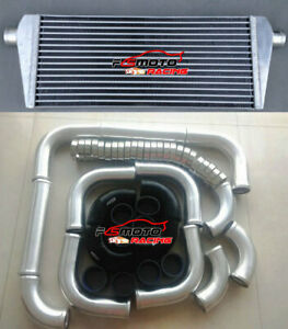 235X550X45mm-ALUMINUM-UNIVERSALTURBO-INTERCOOLER-51mm-PIPING-Black-hose-Clamps