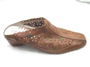 Pikolinos-size-37-6M-Brandy-brown-leather-mules-womens-ladies-clogs-flats-shoes