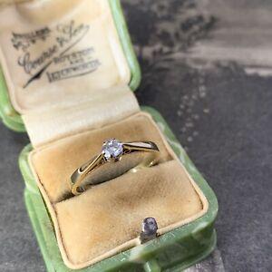 Vintage 18ct Gold Diamond Solitaire Engagement Ring Hallmarked 2.1gms, UK K 1/2