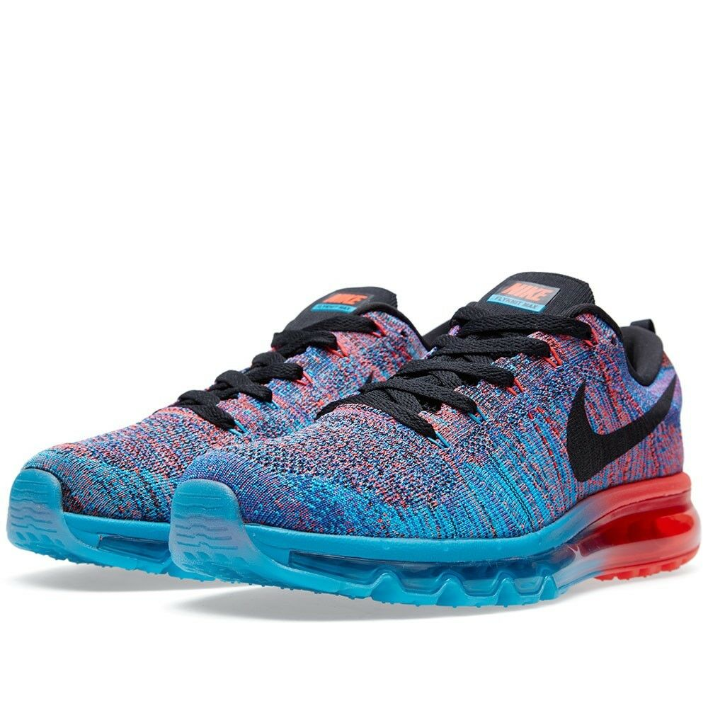New Mens Nike Flyknit Max 2015 Blue Lagoon Bright Crimson Multi Sz 14 620469 401