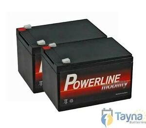 pair of powerline strident 12v 12ah 20hr rechargeable battery next