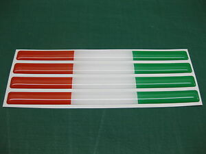 6 SMALL DOMED iTALIAN  FLAG STICKERS 15mm x 7.5mm