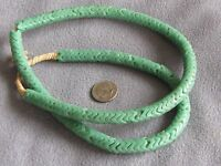 """Rare 25"""" Str Antique African Glass Snake Trade Beads Unusual Green 9mm"""