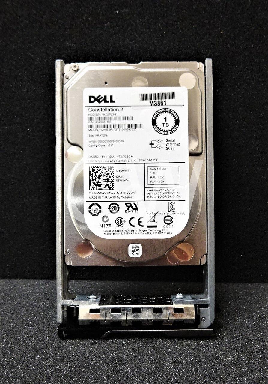 "Dell 1TB 2.5/"" Hard Drive 09W5WV 6G 7.2K SAS 9RZ268-150 ST91000640SS W Tray"