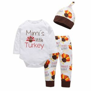 Newborn-Baby-Boy-Girl-Thanksgiving-Clothes-Tops-Romper-Pants-Hat-3PCS-Outfit-Set