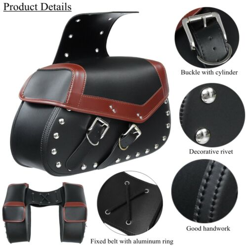 Pair Motorcycle Motorbike Racing Side Saddle Bags PU Leather Carry Tool Bags