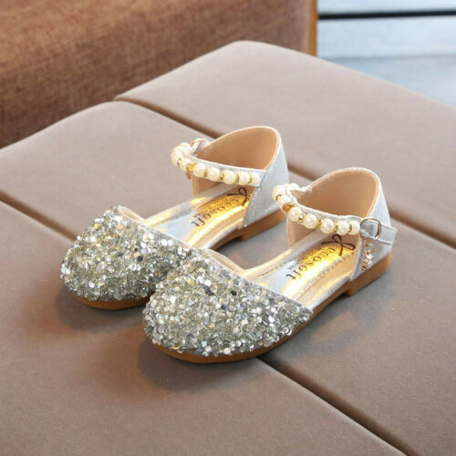 Toddler Kids Baby Girls Child Pearl Bling Sequins Single Princess Shoes Sandals
