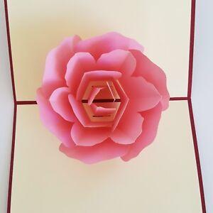 New 3D Pop Up Rose Love Greeting Card Wedding Valentine Christmas Birthday Gift