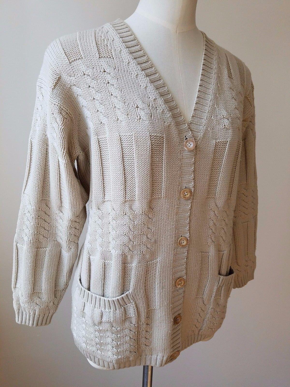 Les Copains Beige CableCardigan Sweater 100% lama lama lama Wool Italian Size 42 0109b6