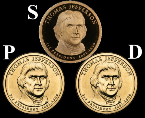 """2007 P+D+S 3 Coin Set Thomas Jefferson Presidential Dollars US Mint  /""""New/"""""""