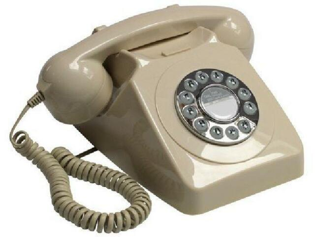 Old Fashioned Phone Antique Desk Ivory Push Button Telephone Ring