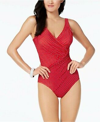 12 Miraclesuit Pin-Point Oceanus Allover Slimming One Piece Red Polka-Dot Swimsuit