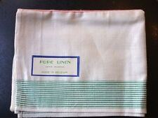 Vtg tea towel pure linen unused orig label colored stripes Belgium 1930s 1940s