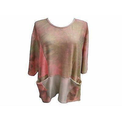 LaBass Damen Shirt Tunika Kurzarm Lagenlook Viskose batic Optik EG von 48-58