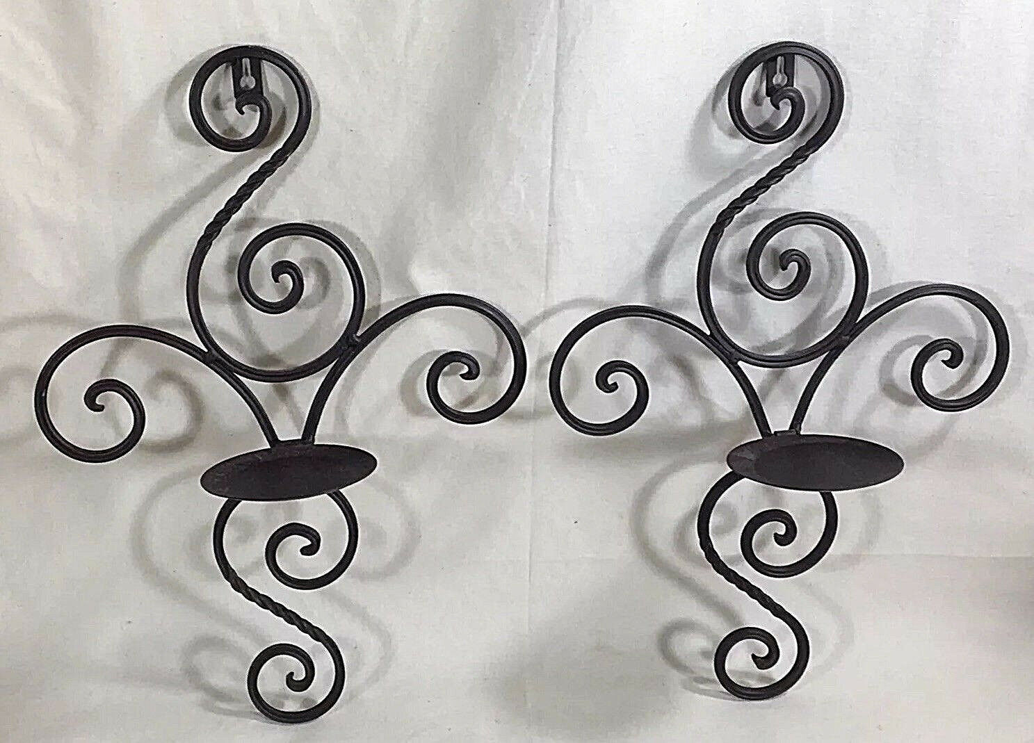 Cast iron candle holders wall sconces pair braun scroll design wall art  16 x 11