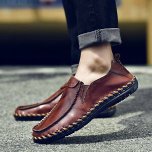 men's cowhide leather moccasin slip on loafers driving