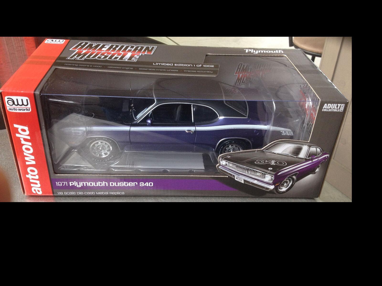 buscando agente de ventas 1971 Plymouth Duster de 340 340 340 inpúrpura 1 18 Autoworld 1052  directo de fábrica