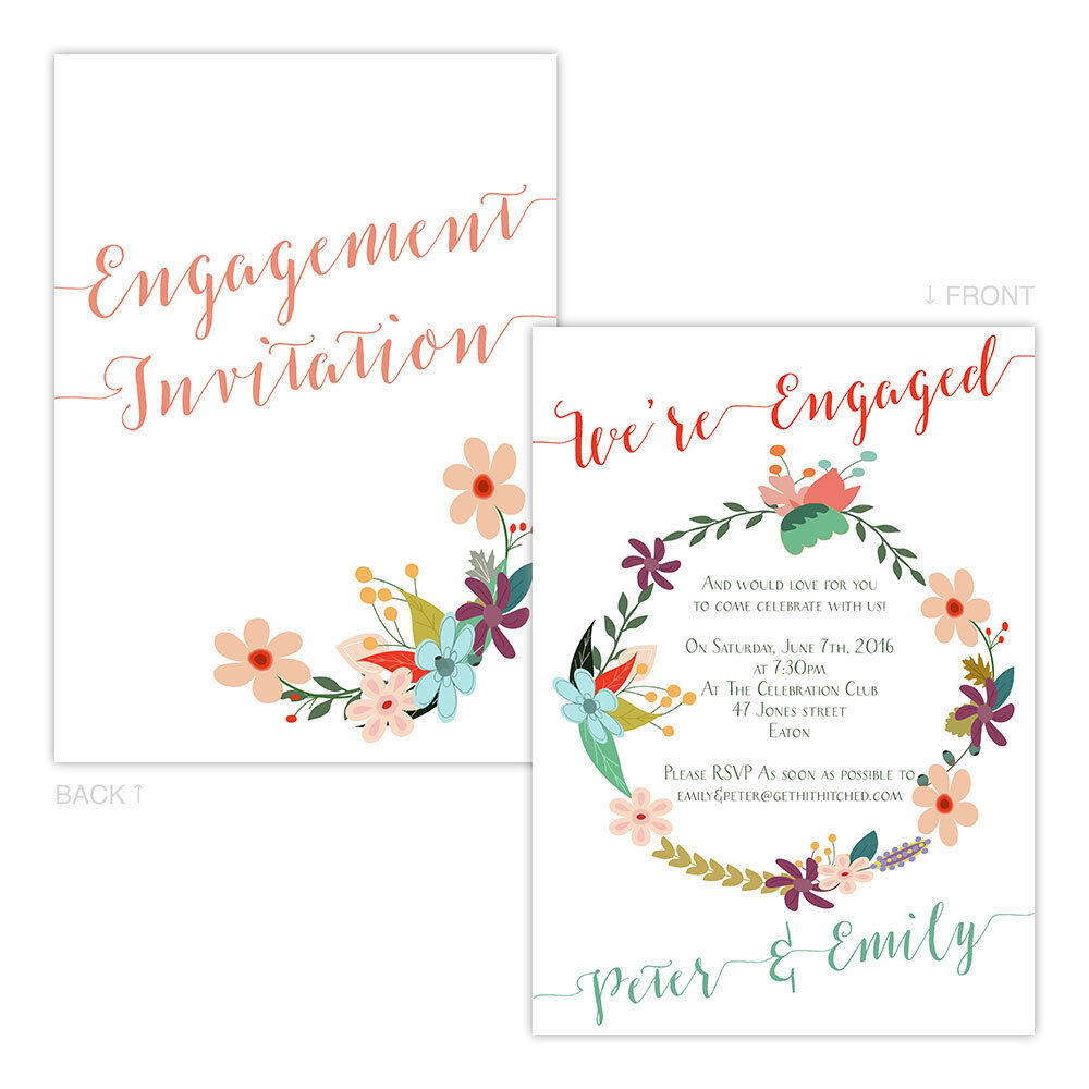 Personalised Engagement Party Invitations Floral Draft Garland Free