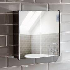 Bathroom Cabinet Double Door Wall Mount Mirror Storage Cupboard Stainless  Steel