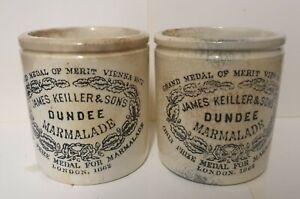 2 dumpy James Keiller Dundee Marmalade Jar Pots