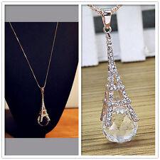 Damen Paris Eiffelturm Kristall Strass Kugel hängende lange Halsketten