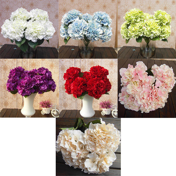5 Flower Heads Artificial Fake Flower Home Hotel Wedding Garden Decor Hydrangea