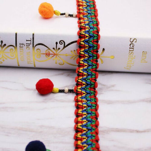 4Yards Colorful Pom Pom Ball Lace Curtain//clothing//Scarf Accessories