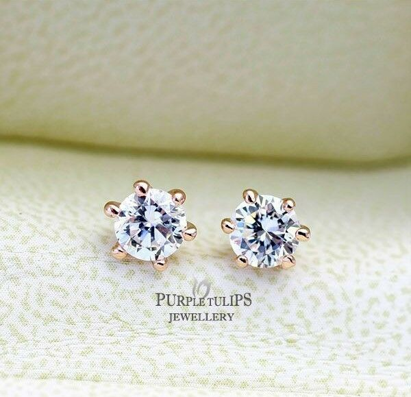 18K Rose Gold Plated Stud Earrings Round Cut Made With Swarovski Diamond