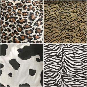 Image is loading Polycotton-Animal-Print-Fabric-x-112cm-Leopard-Tiger- 22d0f9b67