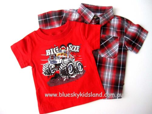 NEW Boys Kids Summer Set 2PCS Cotton TShirt+Check Shirt sz 00-0-1-2 3-4-5-6-7