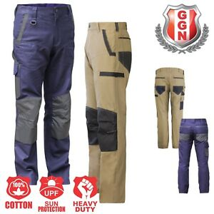 Work-Trousers-Cargo-Pants-Mens-Ladies-Size-Cotton-Drill-KNEE-POCKETS-Slim-Fit