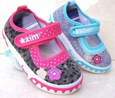 NEW GIRLS BABY LEATHER INSOLES BLACK BLUE GLITTER CANVAS NURSERY SLIPPERS SHOES