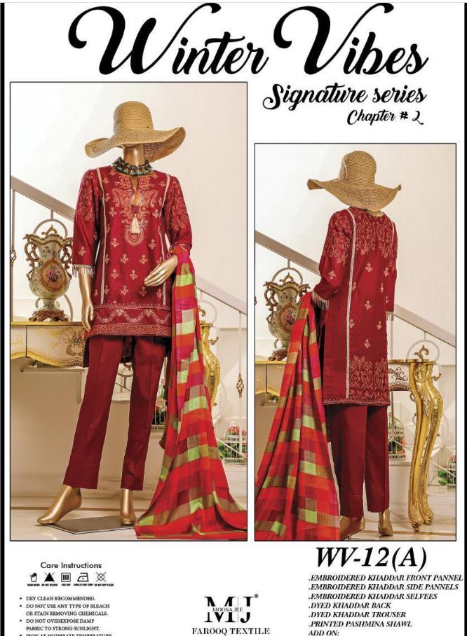winter vibes embroidered khaddar unstitched pakistani indian suit pashmina shawl