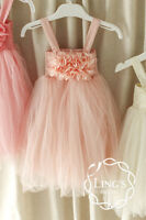 Flower Girl Tulle Tutu Dress Wedding Party Bridesmaid Formal Pageant Size 2 4 6