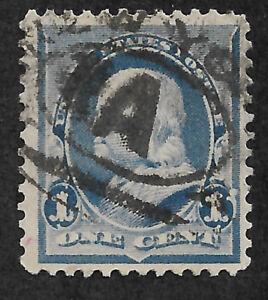 US #219v (1890) 1c Benjamin Franklin -  Blue - Used - EFO: Flame on L1 - FVF