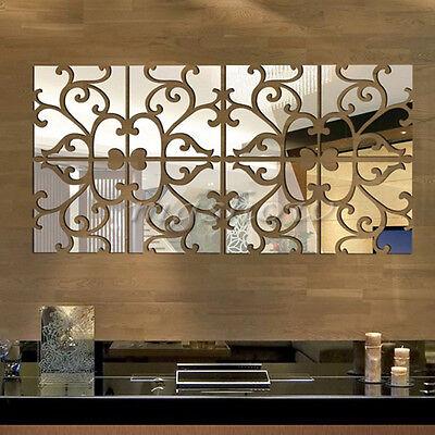 32pcs Removable 3D Vine Mirror Acrylic Wall Stickers Art Vinyl Decal Home Decor