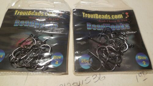 2 TROUTBEADS HOOK 25 HOOKS PER PACK **NEW** SIZE 2 /&4