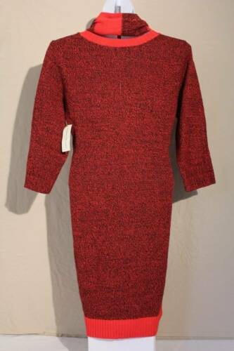 NEW Womens Sweater Dress Medium Red Black Infinity Scarf Knee Length Knit Tunic