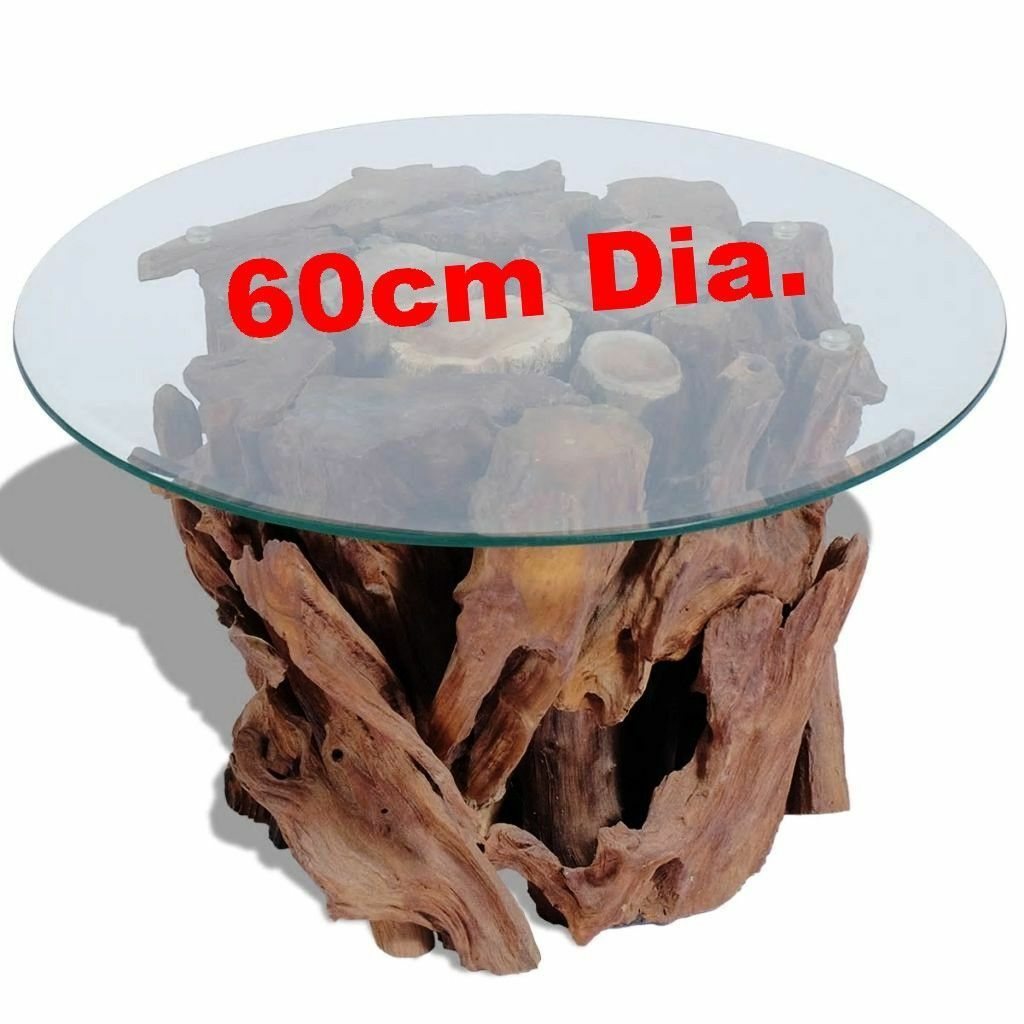 Teak Root Coffee Table Rustic Tree Trunk Glass Top Wooden Unique Handmade Side For Sale Ebay