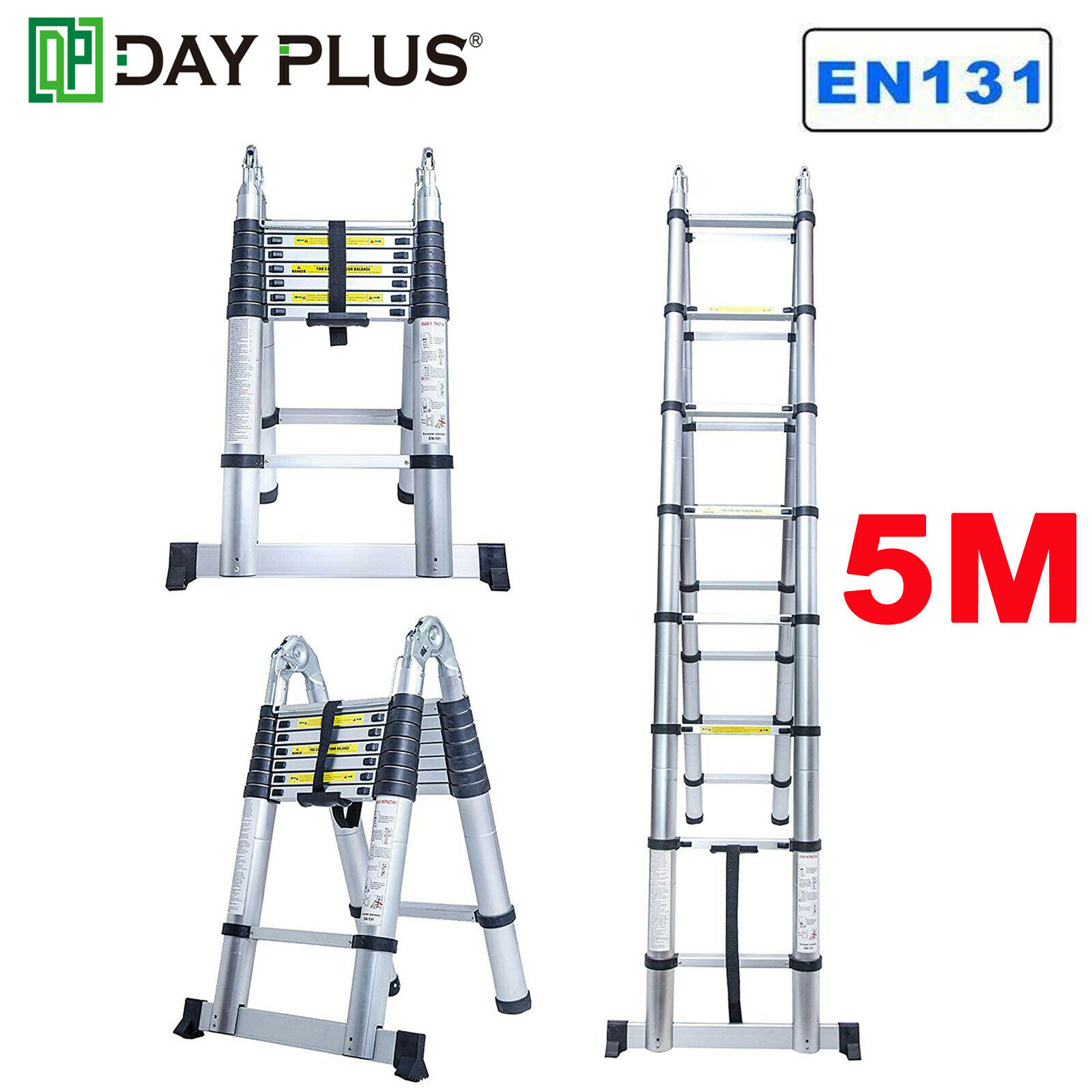 16.5ft Flexible Telescopic Aluminum Extension Fold Ladder Steps Heavy Duty Tool