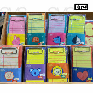 BTS BT21 Official Authentic Goods Clip Board & Note Pad Set 8Characters 30Page