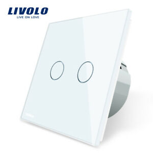 Interruptor-Doble-Pared-EU-Panel-Cristal-Tactil-Switch-Touch-LIVOLO-2-Gang-1-Way