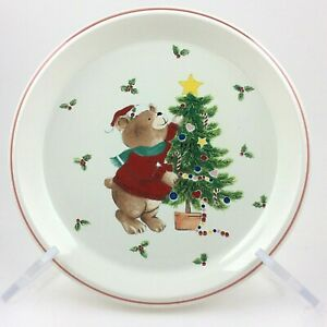 Vintage MIKASA TRIM THE TREE CC009 Child's Christmas Plate Bear Star Holly