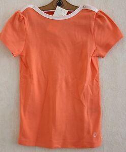 Neuf-Tee-shirt-PETIT-BATEAU-10-ans-jersey-coton-orange-manches-courtes-fille