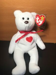 5d5216fa7d2 TY BEANIE BABY VALENTINO BEAR BLACK EYES BROWN NOSE RARE RETIRED ...
