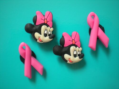 Clog Shoe Charm Plug Button Accessories Minnie Mouse Breast Cancer Pink Ribbon