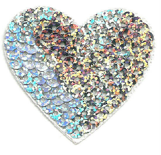Heart - Love - Valentine's Day - Silver Sequin Iron On Applique Patch