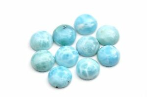 LARIMAR LOT OF 6 GENUINE DOMINICAN 10mm ROUND CABOCHON 100/% NATURAL,