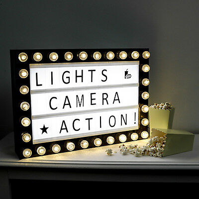 PERSONALISED MESSAGE WEDDING CHRISTMAS PARTY CINEMA PLAQUE SHOP LETTER LIGHT BOX